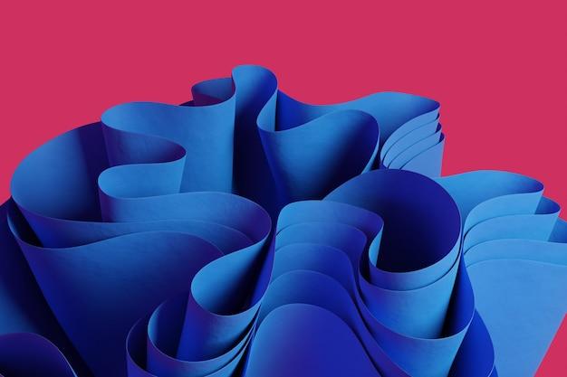 3d-рендеринг синей абстрактной волнистой фигуры на розовом фоне обоев с 3d-объектами