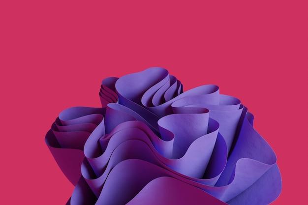 3d визуализация фиолетовой абстрактной волнистой фигуры на розовом фоне обоев с 3d-объектами