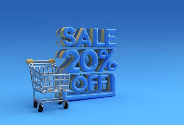 3d 렌더링 추상 20% 할인 할인 배너 3d 일러스트레이션 디자인.