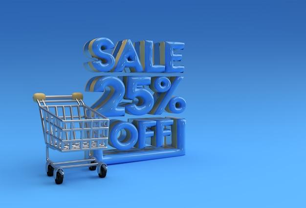 3d 렌더링 추상 25% 할인 할인 배너 3d 일러스트레이션 디자인.