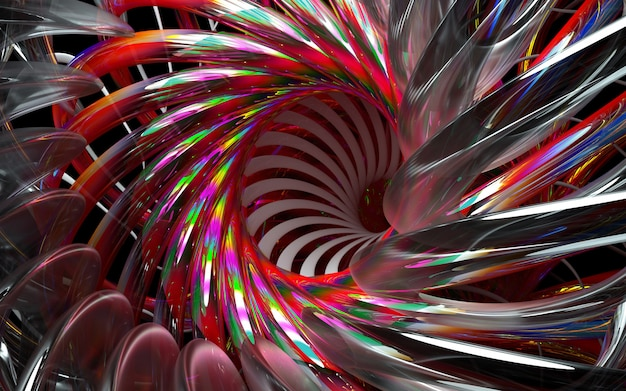 3d render of abstract 3d flower or turbine engine with sharp blades in glass material and parts with red gradient color on black background