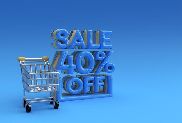 3d 렌더링 추상 40% 할인 할인 배너 3d 일러스트레이션 디자인 할인.