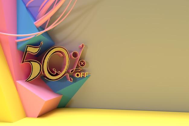 3d render abstract 50% sale off discount banner 3d illustration design.