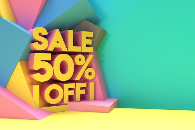 3d визуализация абстрактные 50% скидка скидка баннер 3d иллюстрации дизайн.