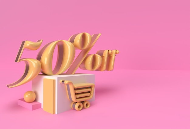 3d render abstract скидка 50% на рекламу продуктов на дисплее. флаер дизайн иллюстрации плаката.