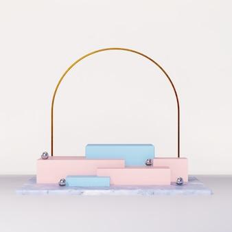 製品ディスプレイ広告用の3dレンダリングの抽象的な美的表彰台シーン