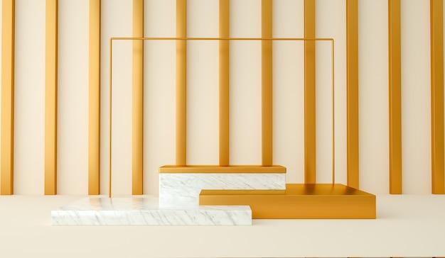 3d 렌더링, 흰색 대리석 및 금 추상 및 현대적인 미니멀 한 배경. 빈 플랫폼