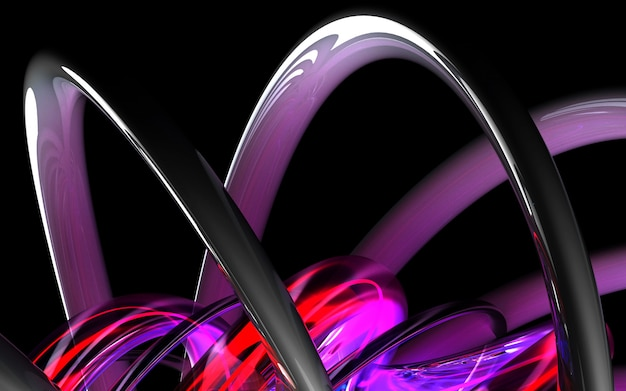 3d render of abstract art 3d background based on curve wavy organic bio forms tubes or pipes in white glossy ceramic with neon glowing purple parts
