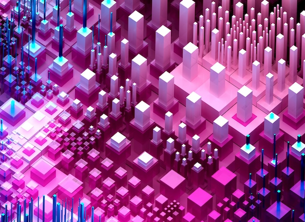 3d render of abstract art 3d background of surreal nano silicon valley hills based on small big thin and told cubes boxes pillars and bars in pink purple blue and white color in isometric view