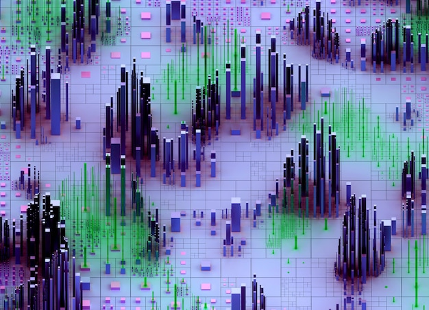 3d render of abstract art 3d scatter topographic landscape 3d background with surreal mountains valley based on random small and big cubes boxes bars or pillars in purple and green gradient color