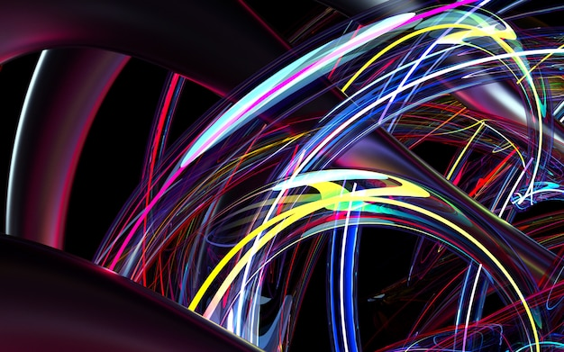 3d render of abstract art background based on curve wavy organic forms tubes or pipes in black matte metal and glass material with neon glowing treads inside