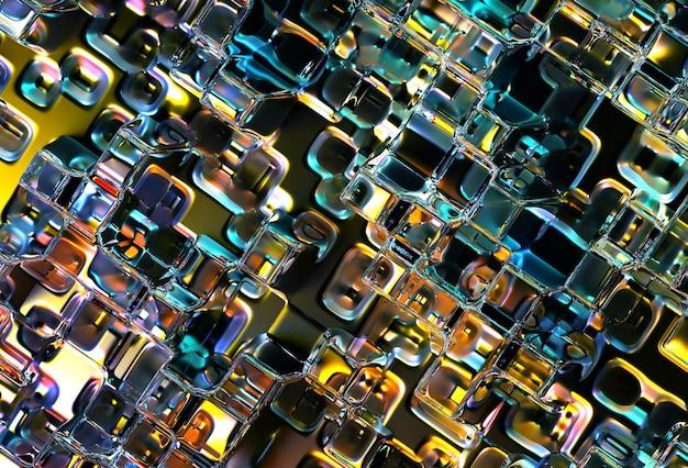 抽象艺术的3d渲染工业3d背景纹理,部分超现实的银色金属液体表面,立体网格马赛克图案,绿色橙色和黄色渐变色
