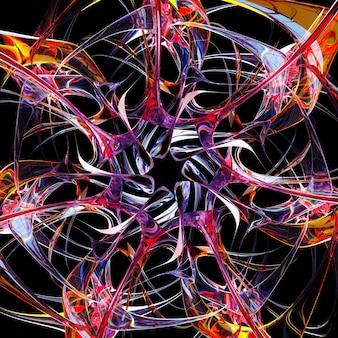 곡선 나선형 모양의 초현실적 인 외계인 별 태양 또는 눈 조각 꽃 기호의 3d 렌더링 추상 미술