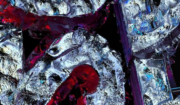 3d визуализация абстрактного искусства сюрреалистической фоновой текстуры с частью грубого гранж поврежденных металлических объектов