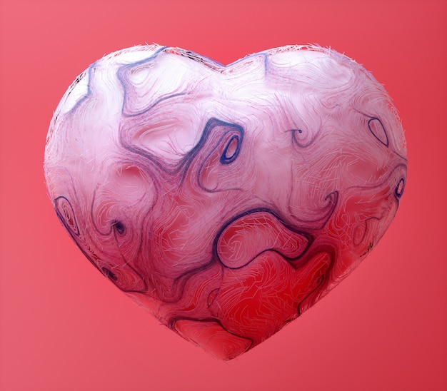 3d render of abstract art of surreal organic love heart shape based on curve round wavy lines on pink background