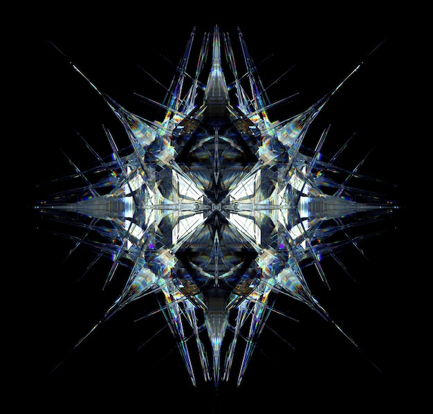 3d render of abstract art with surreal 3d cyber star or alien snow flake crystal mechanism diamond