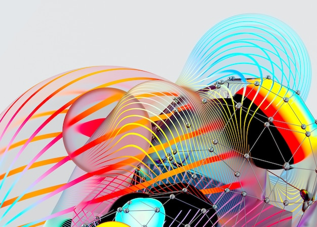 3d render of abstract art with surreal organic shape meta balls spheres with stripes