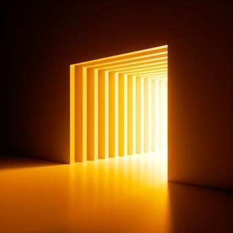 3dレンダリング、抽象的な背景、壁の穴から輝く明るい黄色のネオンライト。