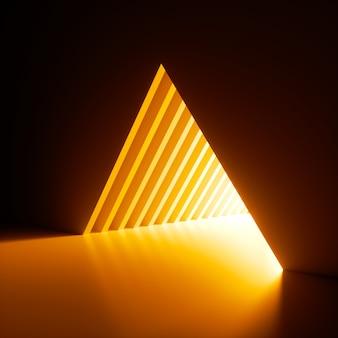 3d 렌더링, 추상적 인 배경, 벽에 삼각형 구멍에서 빛나는 밝은 노란색 네온 빛.