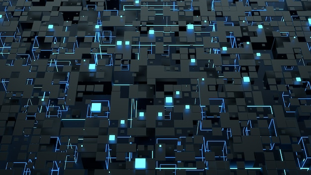 3d визуализация абстрактного фона. сложная цифровая стена со случайными элементами. квадратная геометрия с яркими элементами свечения. сложные детали.