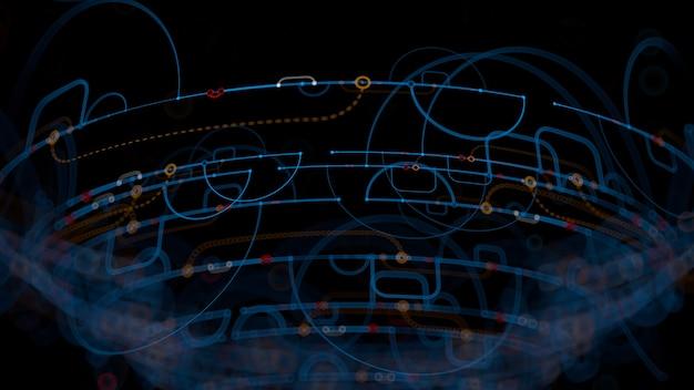 3d визуализация абстрактного фона. подробные линии в трехмерном пространстве с глубиной резкости. повторяющиеся элементы дизайна с дугами, точками и соединенными сегментами.