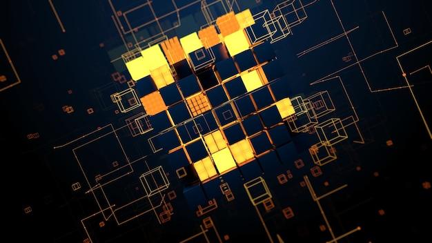 3dレンダリングの抽象的な背景。デジタル技術の概念。明るいセグメントを持つランダムな立方体は、データブロックを象徴しています。