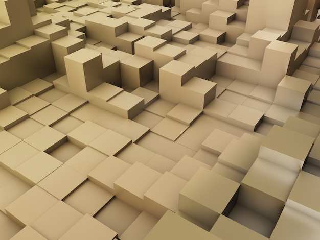 3d render of an abstract background of extruding blocks