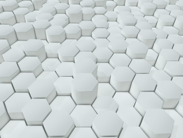 3d render of an abstract background of extruding white hexagons