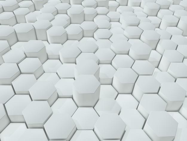 Rendering 3d di uno sfondo astratto di estrusione di esagoni bianchi