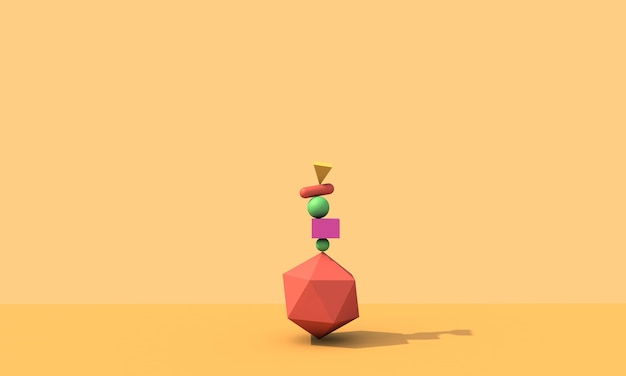 3dレンダリング、抽象的な背景、落下する幾何学的なプリミティブ形状、カラフルな要素
