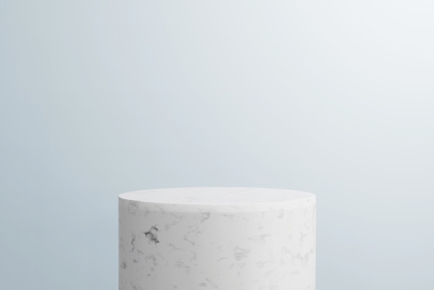 3d render abstract background, mockup scene. white marble podium and blue background for product.
