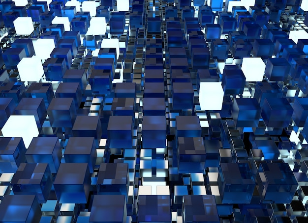 3d render abstract background.  a stack of cubes with different materials. grid structure made of square geometry form. digital concept. 3d cube`s grid.