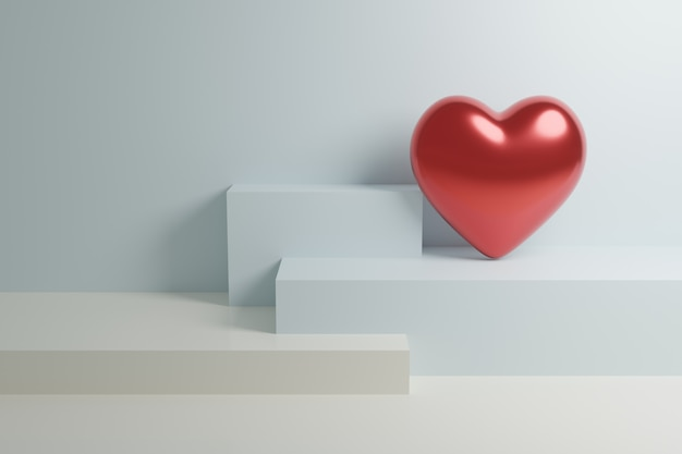 3d render, abstract background, valentines heart day greeting card, simple layout, minimal design elements geometric