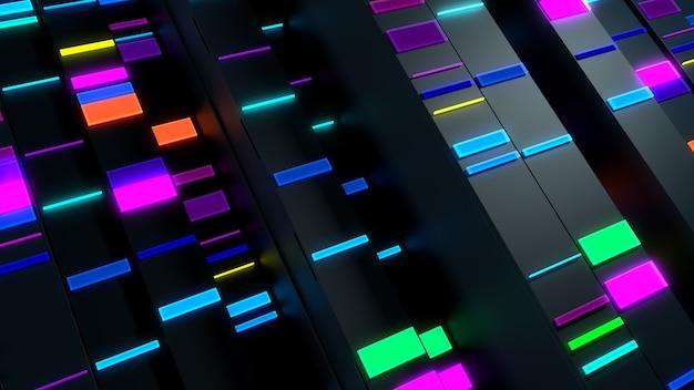 3dレンダリングの抽象的な背景。小さな長方形の明るい要素が付いた垂直反射ブロック。データ分析の概念。