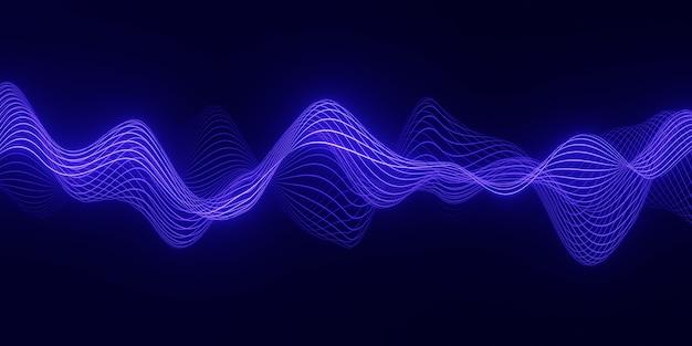 어둡고 부드러운 곡선 모양의 선을 통해 흐르는 입자의 푸른 파도와 3d 렌더링 추상적 인 배경