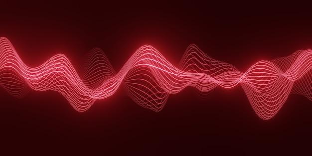 어둡고 부드러운 곡선 모양의 선을 통해 흐르는 입자의 붉은 파도와 3d 렌더링 추상적 인 배경