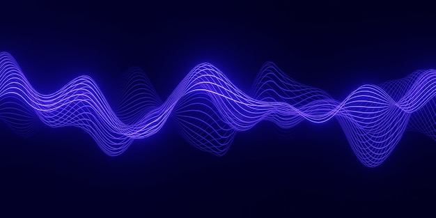3d render abstract background with a blue wave  of flowing particles over dark, smooth curve shape lines