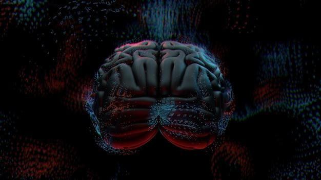 3d визуализация абстрактный фон с мозгом в окружении многоугольных структур. концепция комплексного разума. технологии и мозг.