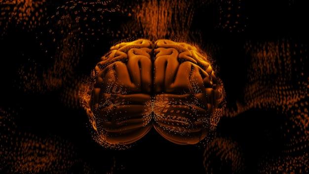 多角形の構造に囲まれた脳で抽象的な背景を3dレンダリングします。複雑な精神の概念。テクノロジーと脳。