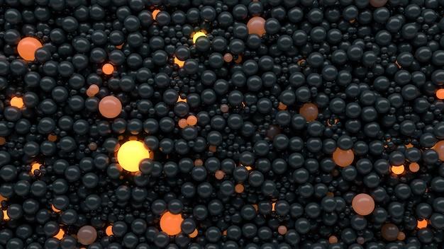 明るい反射球で抽象的な背景を3dレンダリングします。アイデアと個性のコンセプト。オブジェクトが成長し、光沢があります。リアルなダイナミクス。