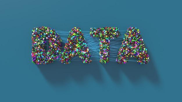 線で接続された球で作られたデータタイトルで抽象的な背景を3dレンダリングします。データと接続の概念。