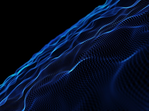 3d render of an abstract background with flowing cyber particles