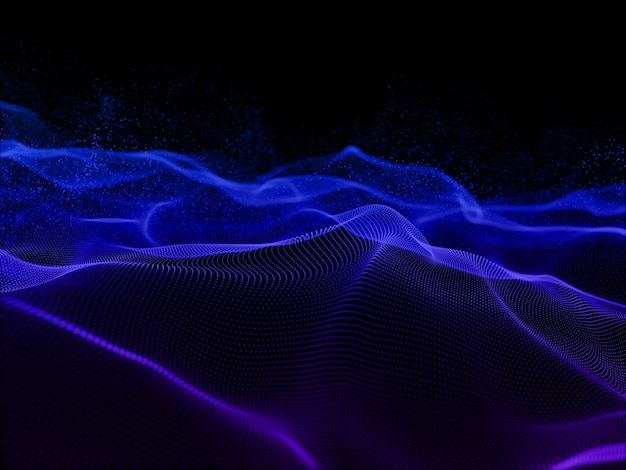 3d render of an abstract background with flowing particles design