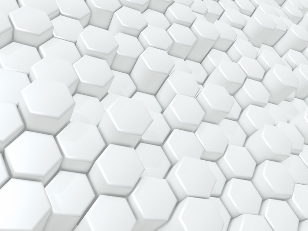 3d render of an abstract background with glossy extruding hexagons