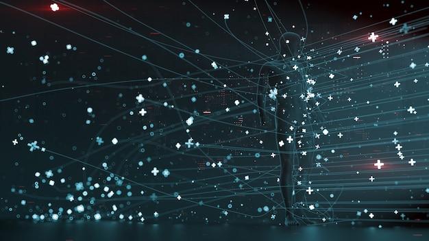 3d는 입자와 산책로로 둘러싸인 인간과 함께 추상적인 배경을 렌더링합니다. 우리 주위의 기술 개념 그림입니다. 사람과 기술의 통합.