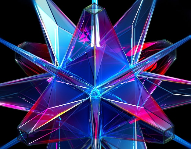 3d render of abstract background with part of surreal alien energy emerald crystal in fractal triangle and pyramid pattern in transparent plastic material