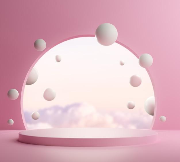 3d визуализация, абстрактный фон с розовым подиумом и минимальная летняя сцена.