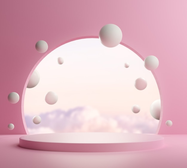 3d render, abstract background with pink podium and minimal summer scene.