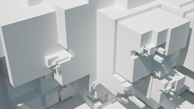 3d визуализация абстрактного фона с произвольно выдавленными сегментами. детальная сегментация плоской поверхности, освещенной ярким светом с эффектом цветения линзы.