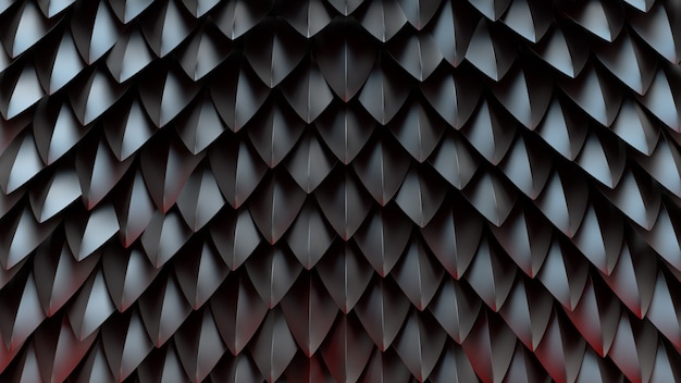 3d визуализация абстрактного фона с формами шип. концепция оболочки дракона фантазии. светоотражающая металлическая поверхность.